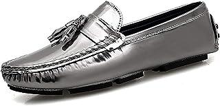 Silver Tassel Solid Color Driving For Men Slip On Lazy Shoes Black Mocasines Hombre Pu Mens