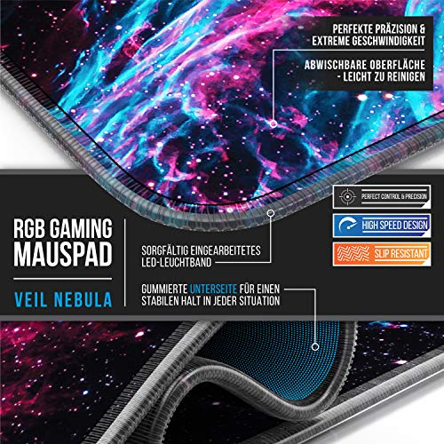 Titanwolf - RGB Gaming Mauspad - LED Schreibtischunterlage - 800x300 mm - XXL Mousepad - LED Multi Color - 11 Beleuchtungs-Modi - 7 LED Farben Plus 4 Effektmodi - abwaschbar - Galaxy Nebel