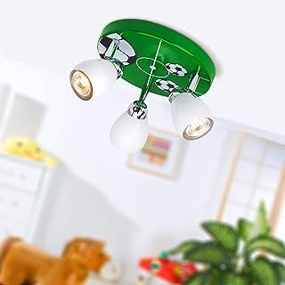 Lámpara de techo Soccer LED, Ø 31 cm, 3x 2,5W GU10 LED incl., 3x 250 Lumen, 3000K blanco cálido, metal, blanco/blanco-negro-verde-blanco