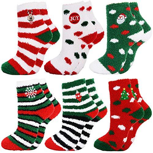 Fascigirl 6 Paare Weihnachtssocken Damen Kuschelsocken Flauschige Socken Weihnachten Socken Lustige Winter Warme Bettsocken Adventkalender Socken Christmas Wichtelgeschenk Geschenk für Frauen Damen