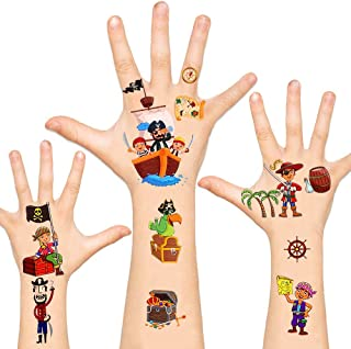 Pirate Temporary Tattoos for Kids Non-Toxic FDA Approved Cartoon Face Fake Tattoos Stickers for Boys Girls Birthday Party Favors Supplies