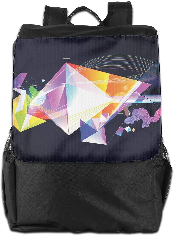 Geometrical Trigonal Bipyramid Printed Boys Backpack Lightweight Casual Shoulder Bag School Bookbags