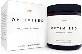 HPX Optimized Brain Supplement for Mental Focus & Energy - 120 Ct. - Premium Nootropic to Beat Brain Fog & Fatigue - Stay Sharp, Positive & Productive - CoQ10, Ginkgo Biloba, Alpha-GPC
