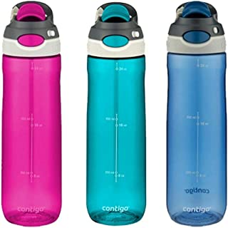 Contigo AUTOSPOUT Chug Leak-Proof Water Bottles 24oz, 3 Pack (Turquoise, Pink, Blue)