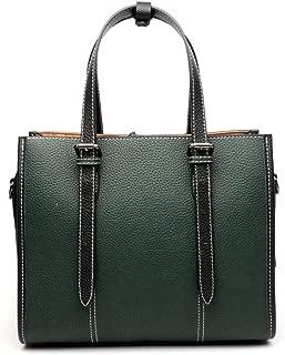 Portable New Trend Casual Fashion Bills Shoulder Slung Large Capacity Cowhide Handbag (Color : Green)