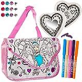 alles-meine.de GmbH Bastelset zum Bemalen - für Tasche / Henkeltasche / Tragetasche - Disney Princess - Prinzessin + Spiegel + 5 Textilstifte + 12 Sticker - Kindertasche Tasche S..