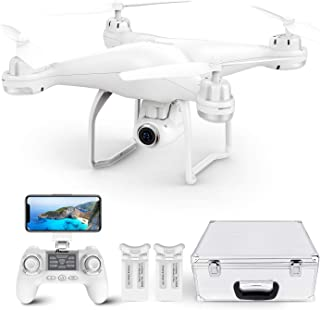 Potensic T25 GPS Drone, FPV RC Drone con 1080P HD WiFi Camera Live Video, Auto Return Home, Altitude Control, Follow Me, con 2 baterías y estuche de transporte