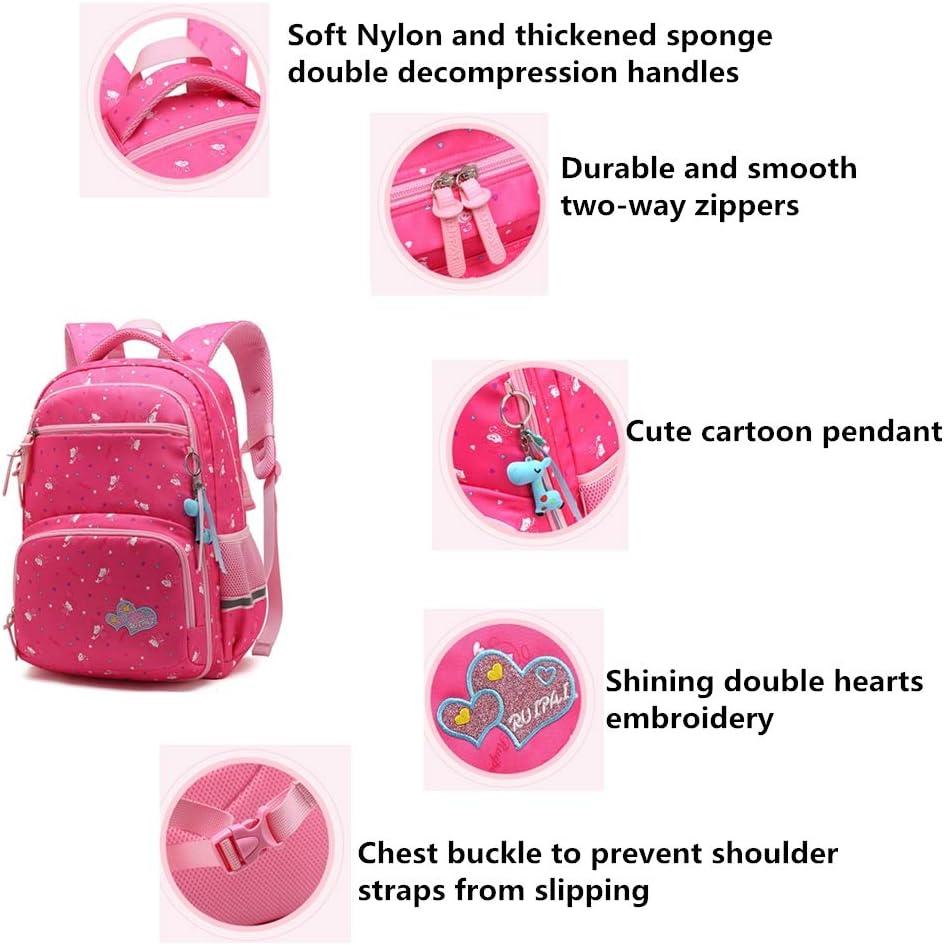 Fanci Pretty Girls Heart Prints Preschool Bookbag Bagpack Waterproof Primary School Backpack Book Bag