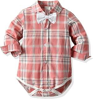 Newborn Baby Boys Romper Clothes Animals Print/Plaid Long Sleeve Onesies Bodysuit Jumpsuit Bow