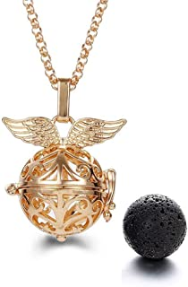 Harry Potter Necklace - Golden Snitch Lava Stone Aromatherapy Necklace with Jewe