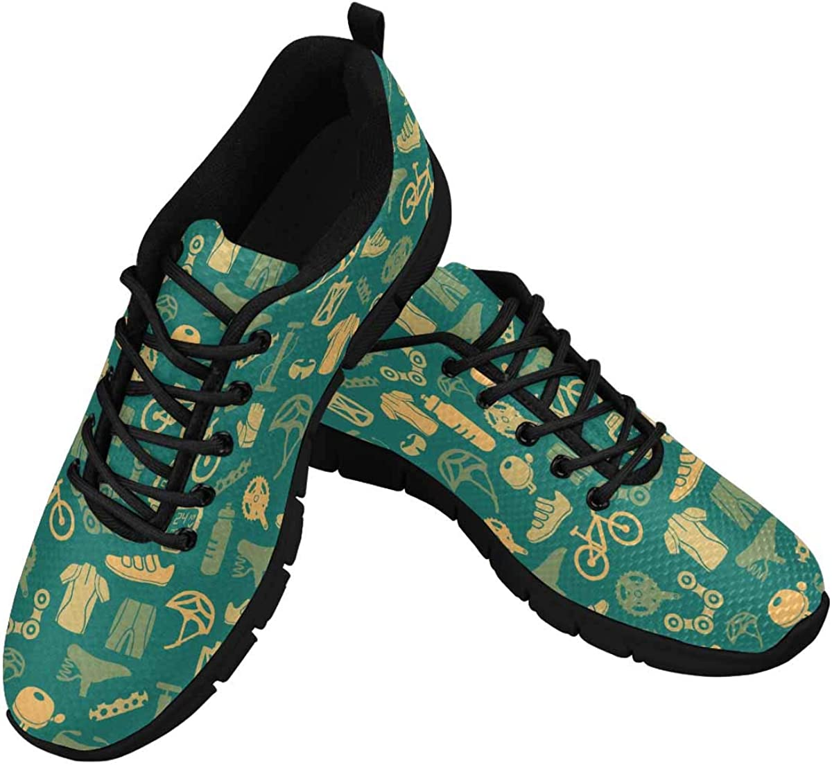 INTERESTPRINT Vintage Bicycle Pattern Women's Tennis Running Shoes Lightweight Sneakers