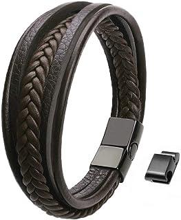 Maerzl Men's Bracelet Leather Braided Bracelet, Brown...