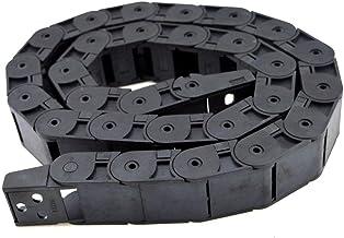 DealMux 18mm x 25mm Zwarte Plastic Flexibele Genestelde Semi Gesloten Drag Chain Kabel Draad Drarier 1M voor Elektrische M...