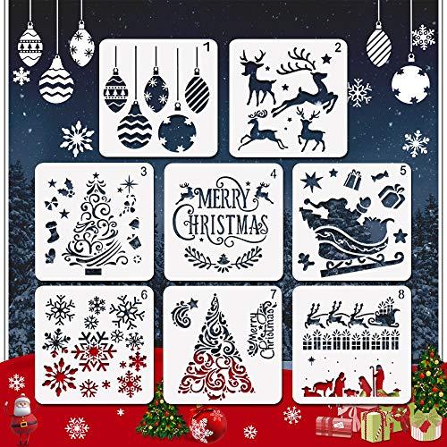 EMAGEREN 8pcs Plantillas de Navidad, Estarcidos para Navidad, Plantillas de Navidad para Manualidades, Plantillas para Pintar a Niños, Estarcidos Blanco de Plástico Reutilizable, Decoración de Navidad