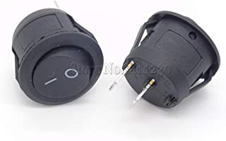 10Pcs Big Round Rocker Switches Black White Red 2 Pin ON-Off 10A/125V 6A/250V (Color : Black 10PCS)