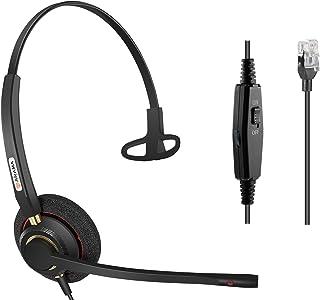 Office Phone headsets Rj9 with Noise Cancelling Mic for Mitel 5220e 5330e 5330 5340 Polycom VVX311 VVX410 VVX411 VVX500 Avaya 1408 1416 5410 ShoreTel 230 420 480 NEC Landline Deskphones (A800S)