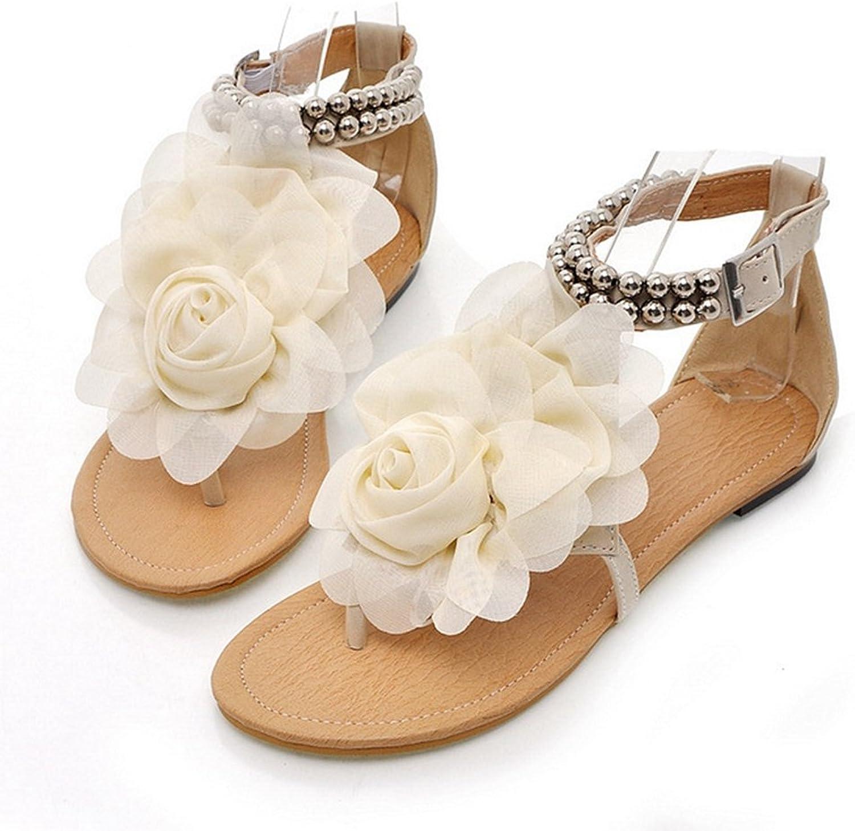 CYBLING Women Bohemia T-Strap Thongs Summer Flower Gladiator Flat Dress Sandals Beach shoes