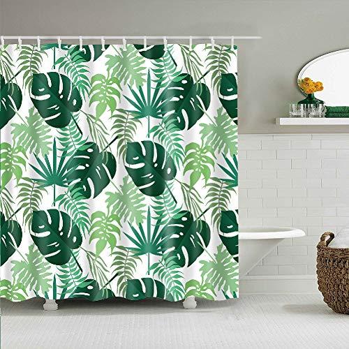 YONG-SHENG Tropisch Grüne Blätter Duschvorhang Digital Gedruckt Wasserdicht & Mildewproof Polyester Gewebe Wohnaccessoires Eingestellt mit Haken 180cm x 180cm(Monstera) (Style 4)