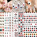 3D Poker Nail Art Stickers Playing Cards Vegas Nail Art Decals Fashion Designer Nail Sticker Red Heart Diamond Spades Geometric Letter Nail Designs Sticker for Acrylic Nails (8 Sheets)