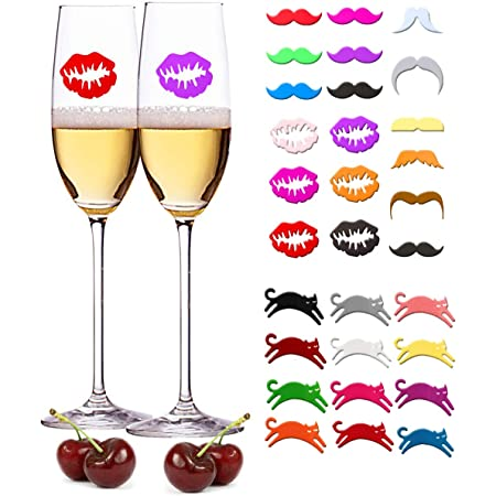 Graphics and More Pink Donut Sprinkles Wine Glass Charm Drink Stem Marker Ring