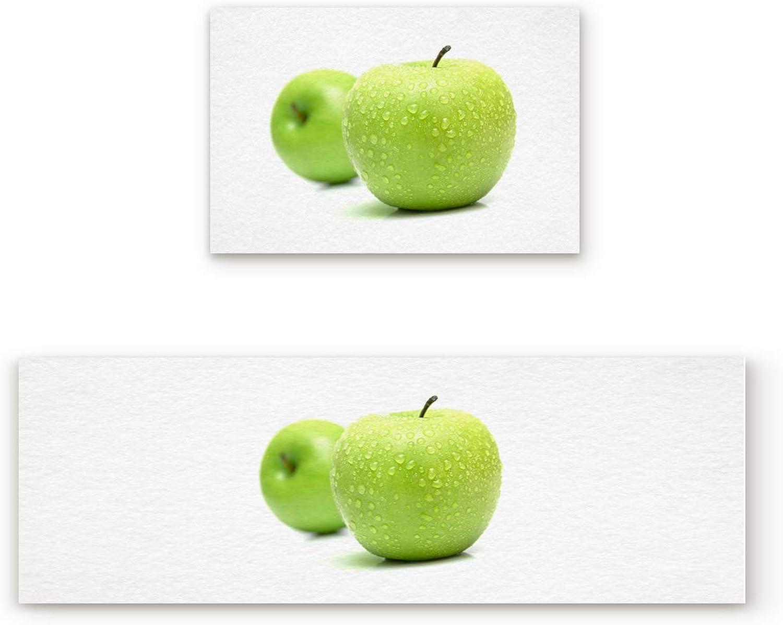 KAROLA 2 Piece Non-Slip Kitchen Mat Doormat Runner Rug Set Thin Low Pile Indoor Area Rugs Green Apple Fruit Pattern 19.7 x31.5 +19.7 x63