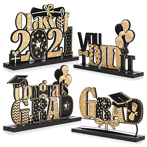 4 Pieces 2021 Graduation Party Decorations Wooden Class of Grad Congratulate Graduation Table Toppers for High School College Graduation Party Favor Supplies Photo Booth Props (Black Gold)
