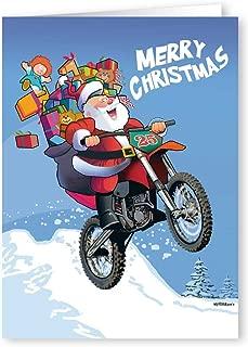 Motorcycle Christmas Card - 18 Cards & Envelopes - Santa Rides Motocross Dirt Bike