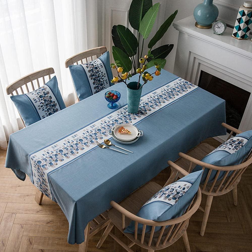 Charm4you Antimanchas de Algodón y Lino Mantel,2021 Nuevo Mantel Nuevo de Lino de algodón Impermeable (sin Funda de Almohada) -Azul_1,35 * 1,6 m,Mantel Elegante Antimanchas