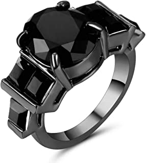 Women's ring Black Rhodium plated with black Onix graded Size US 6