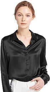 bc8de12ce1c1d4 LilySilk Women's Silk Shirt 22 Momme 100% Pure Silk Button Down Tops Long  Sleeves