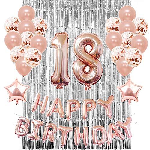 Sunarrive 18 Geburtstag Dekoration zum Mädchen - 18. Geburtstag Deko Luftballon Helium Rosegold Set - mit Silber Folienvorhang