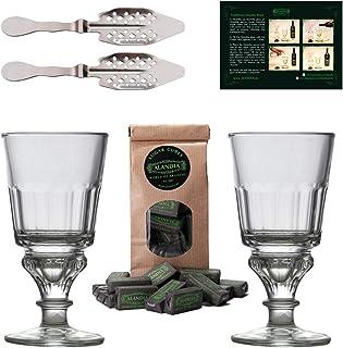 ALANDIA Absinth-Zubehör Set | 2X Absinth-Gläser | 2X Absinth-Löffel | 1X Absinth-Zuckerwürfel