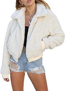 Energy Women's Short Zip Pocket Velvet Long Sleeve Lapel Coat Jacket