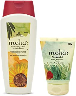 moha: Moisturizing Lotion 200 Ml with Free Aloe vera Gel 100 Ml (Combo of 2)
