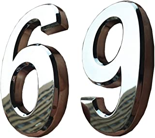 2 Pack Self Stick House Numbers 6/9 Solid Sign Letters Stickers for Mailbox Apartment Hotel Condo Door Address Plaque Bronze Silver 2/3 /4 inch (2.75