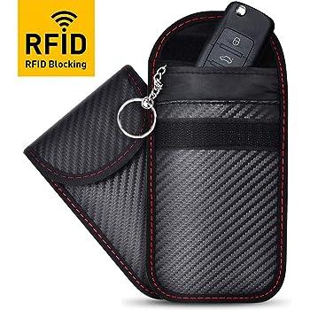 2 Pack Faraday Key Fob Protector, RFID Key Fob Protector Pouch, Faraday Bag Anti-Theft RFID Blocking EMF Cage for Keyless Car Key