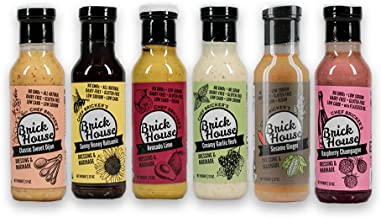 Brick House Vinaigrettes Variety Pack - salad dressing and marinade. Artisan made, low sodium/carb (keto), gluten/dairy/soy/nut free (6-pack)