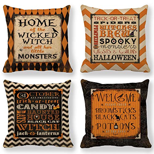 ULOVE LOVE YOURSELF 4Pack Vintage Halloween Throw Pillow Covers with Quotation Happy Halloween Decorative Pillow Cases Cushion Covers 18 x 18 Inches for Couch/Sofa/Porch/Patio