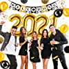 Graduation Decorations 2021 Kit - 45pc - Black & Gold Graduation Party Supplies 2021 Balloons, Props, Banner, PomPoms, Swirls Decor - Full 2021 Grad Party Value Pack for the Graduate #1