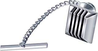 Digabi 10mm Black Tie Tack with Chains and Clutch Square Black Lines