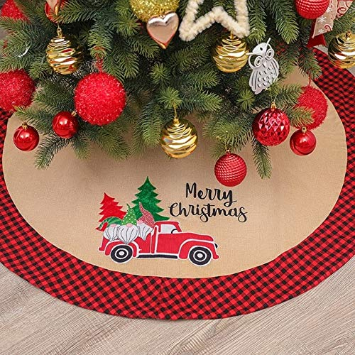 US Warehouse - Tree Skirts - Christmas Tree Skirt Linen Merry Christmas Car Pattern Xmas Tree Mat Apron Holiday New Year Home Decorative Supplies - (Color: A)