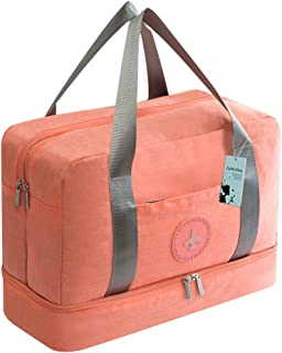 GeWeDen Travel Gym Bag Duffel Totes with Dry & Wet Area & Shoes Compartment for Men and Women (Light Pink)