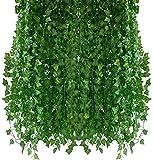 ZGYQGOO Plantas Artificiales Hiedras Enredaderas 12 Pcsx2.1m Plantas Guirnalda Artificial Colgante Hogar Cocina Jardín Oficina Decoración