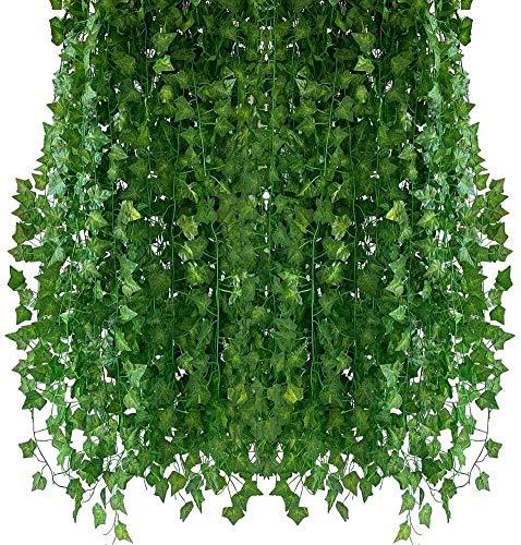ZGYQGOO Piante Artificiali Hiedras Enredaderas 12 Pcsx2.1m Piante Ghirlanda Artificiale Appesa Casa Cucina Giardino Decorazione Ufficio
