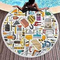タッセル ラウンドビーチタオル 大判 厚手 ファッション マイクロファイバー 海水浴 肩掛け 超吸水 円形 バスタオル 柔らか シャワータオル ビーチマット 水泳 プールパーティー ビキニ 海辺旅行 150*150cm -カラー1