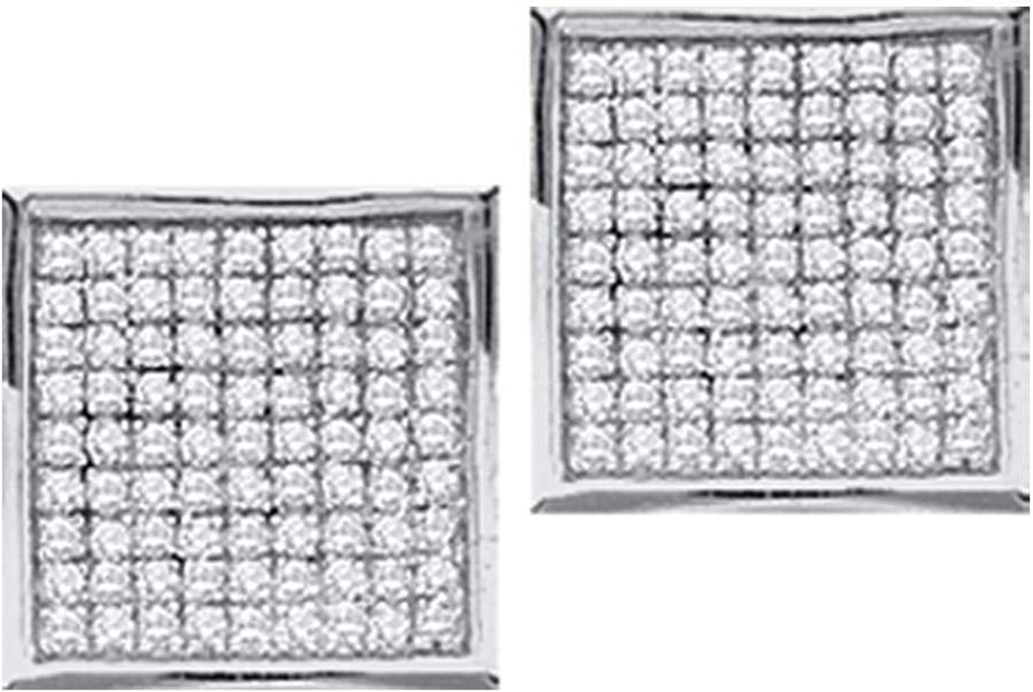 10kt White gold Womens Round Diamond Square Earrings 1 20 Cttw