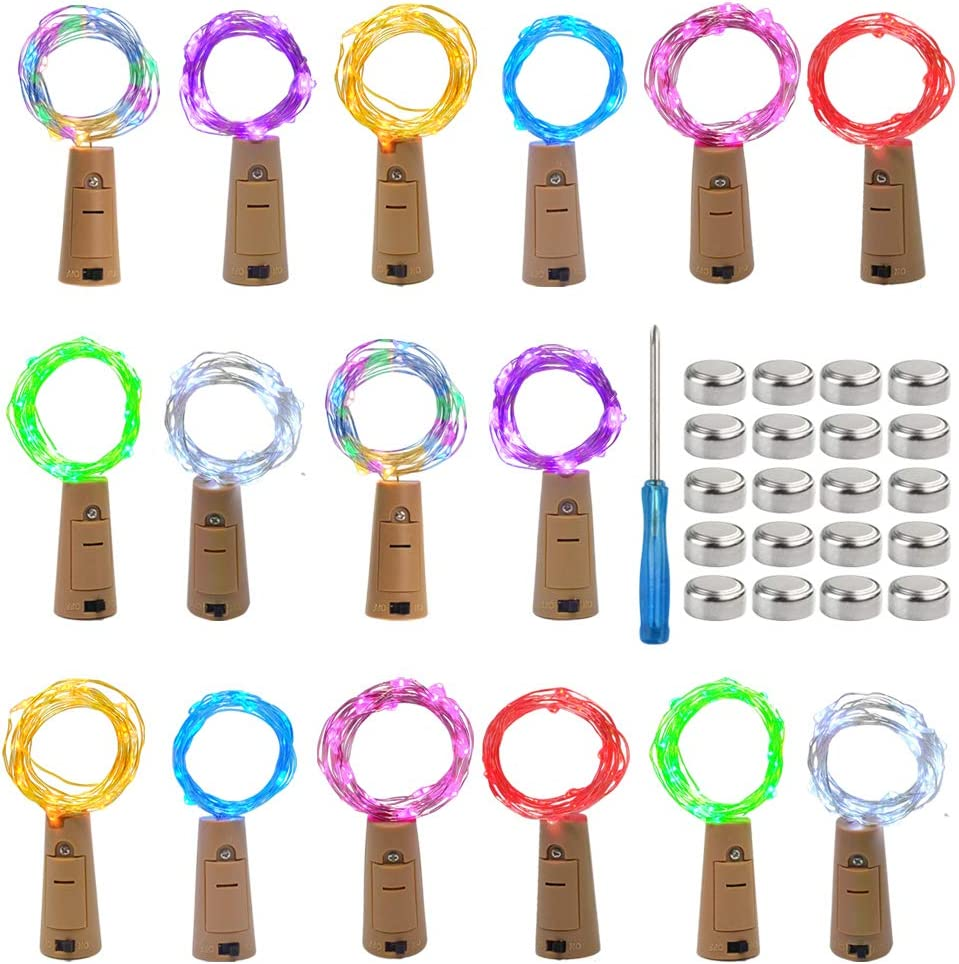 mifengda 16 Pack Wine Bottle Lights Shaped Cork 20 Micro 8 Color Gifts At the price of surprise