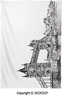 SCOCICI Spring and Easter Dinner Tablecloth,Vintage,Old Fashion London Tower Bridge Sketch Architecture British UK Scenery Art Print,Black White