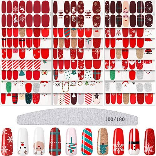 24 Sheets Christmas Adhesive Nail Polish Stickers Christmas Nail Wraps Full Nail Wraps Strips Adhesive Nail Decals Christmas Manicure Decal Kit with Nail File for Christmas Nail Decoration