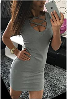19fa9a0ec1f Summer Slim Women Solid U-Neck Cross-Belt Dress Sleeveless Plus Size Hip  Dress